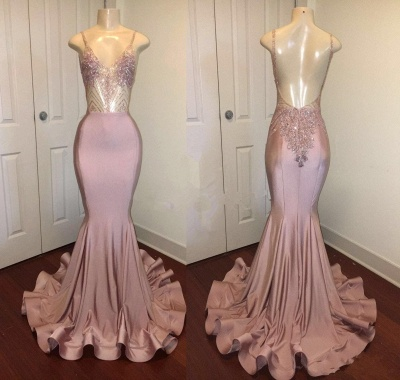 Spaghetti Straps Pink Mermaid Prom Dresses | Backless Sparkling Beads Sequins Evening Gown_3
