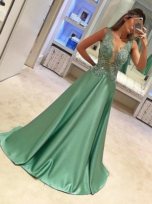 Sparkly Sheer Neck A-line Prom Dresses Illusion Bodice Beading Long Evening Dresses_1
