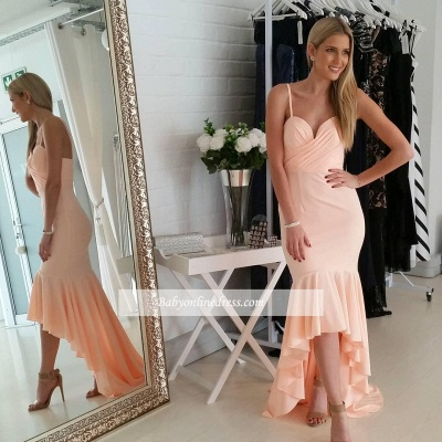 Gorgeous Nude Mermaid Spaghetti-Starps Sweetheart Hi-Lo Prom Dress_3