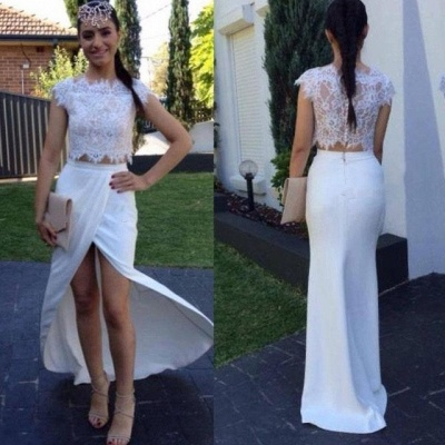 White Two Pieces Sheath Lace Prom Dresses Cap Sleeves Front Spilt Evening Gowns_3