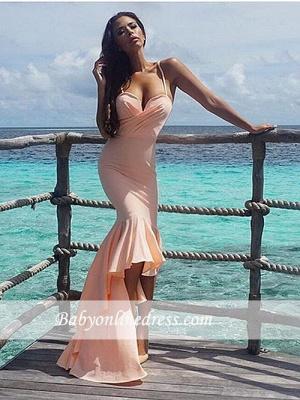 Gorgeous Nude Mermaid Spaghetti-Starps Sweetheart Hi-Lo Prom Dress_5