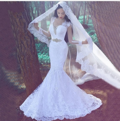 White Mermaid Tulle Appliques Wedding Dresses with Long Sleeves and Beadings_3