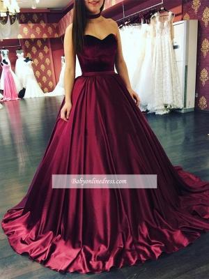 Sleeveless Sweetheart Sweep-Train Elegant Puffy Prom Dresses_1