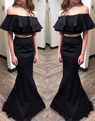 Elegant Black Two Pieces Prom Dresses | Simple Ruffles Mermaid Evening Dresses_3