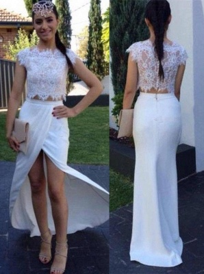 White Two Pieces Sheath Lace Prom Dresses Cap Sleeves Front Spilt Evening Gowns_1