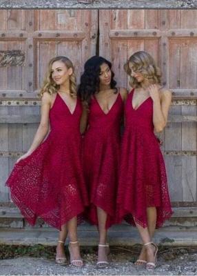 Sleeveless Tea-Length Spaghetti-Strap A-line Lace Bridesmaid Dress_6