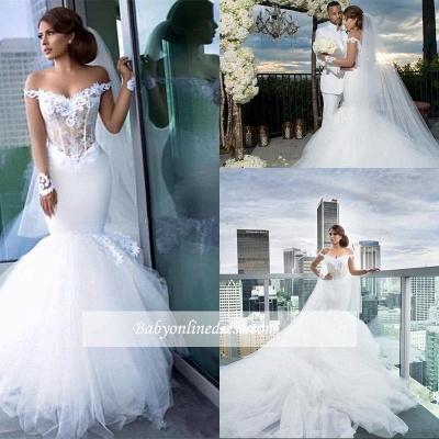 Elegant Off-the-Shoulder Tulle Appliques Mermaid Long Sleeves Wedding Dresses_1