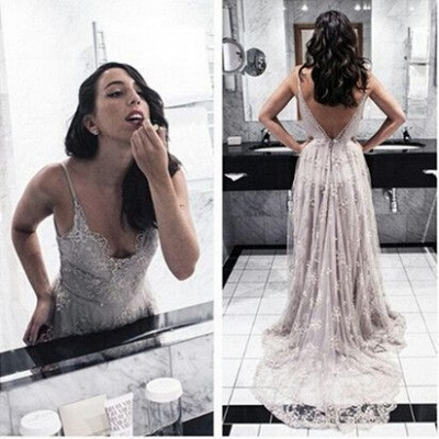 Long Open Back Lace Spaghettis-Straps Sexy Prom Dresses_2