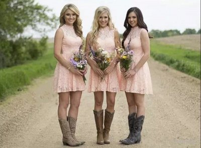 Pink Short Lace Bridesmaid Dresses | Hollow Back Country Wedding Party Dress_6