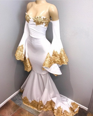 Sweetheart Long Mermaid Prom Dresses | Long Sleeves Gold Appliques Evening Gown_3