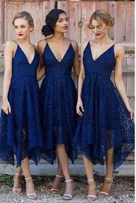 Sleeveless Tea-Length Spaghetti-Strap A-line Lace Bridesmaid Dress_5