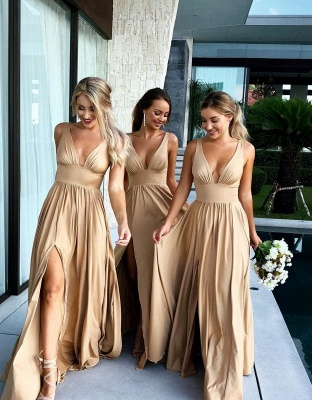 Simple Two Pieces Mermaid Bridesmaid Dresses | Halter Bows A-Line Maid Of The Honor Dresses_2
