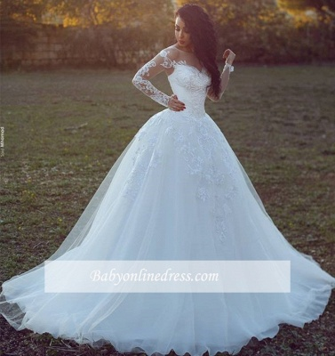 Appliques Tulle Ball Long-Sleeves Glamorous Wedding Dresses_1