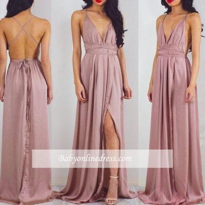 Floor-Length Split Halter Charming V-Neck Prom Dress_1