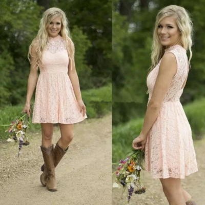 Pink Short Lace Bridesmaid Dresses | Hollow Back Country Wedding Party Dress_5