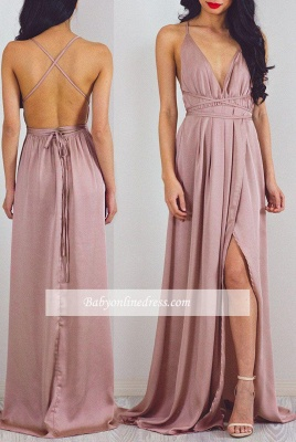Floor-Length Split Halter Charming V-Neck Prom Dress_3