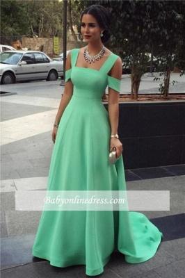 Straps Long Elegant Cheap Court-Train Green A-line Empire Evening Dresses_1