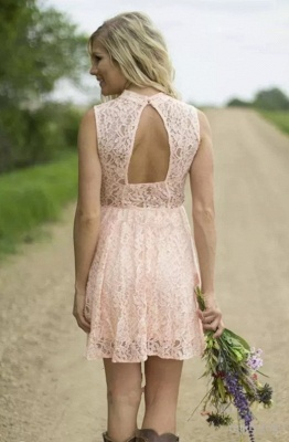 Pink Short Lace Bridesmaid Dresses | Hollow Back Country Wedding Party Dress_4