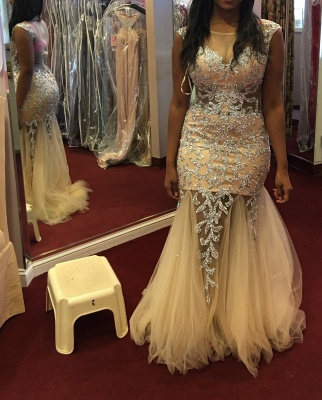 Champagne Mermaid Prom Dresses Beading Tulle Sheer Back Luxury Evening Gowns_1