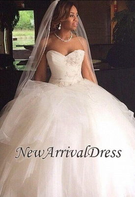 New Arrival Sweetheart Tulle Appliques Ball Wedding Dresses_1