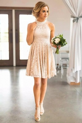 Nude Lace Short Bridesmaid Dresses | Pearls Halter Neck Maid of the Honor Dress_4