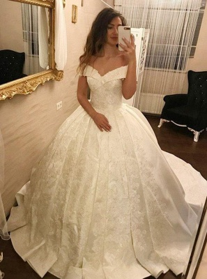 Elegant Ball Gown Wedding Dresses | Off-the-Shoulder Pleated Satin Bridal Gowns_1