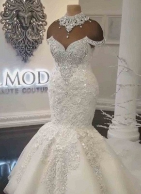 Luxury Crystals Fit and Flare Wedding Dresses | Off-the-Shoulder Appliques Bridal Gowns_6