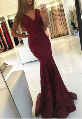 V-neck Sweep-Train Lace Mermaid Sleeveless Newest Prom Dress_2
