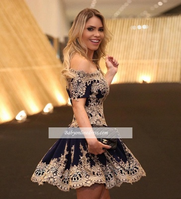 Short-Sleeves Latest Cheap Lace Navy Off-The-Shoulder Appliques Homecoming Dress_1