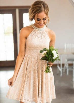 Nude Lace Short Bridesmaid Dresses | Pearls Halter Neck Maid of the Honor Dress_1