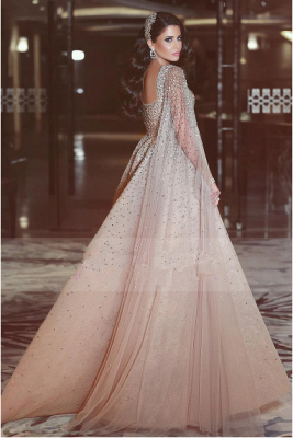 Shining Floor Length Crystals Long Tulle 2018 Prom Evening Gown_3