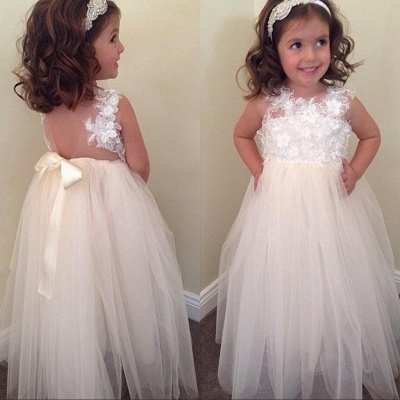 Cute A-line Bowknot Floral-Appliques Floor-Length Flower Girl Dresses_3