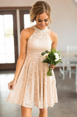 Nude Lace Short Bridesmaid Dresses | Pearls Halter Neck Maid of the Honor Dress_3
