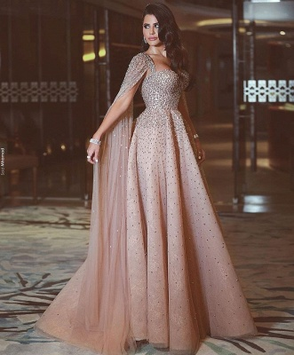 Shining Floor Length Crystals Long Tulle 2018 Prom Evening Gown_1