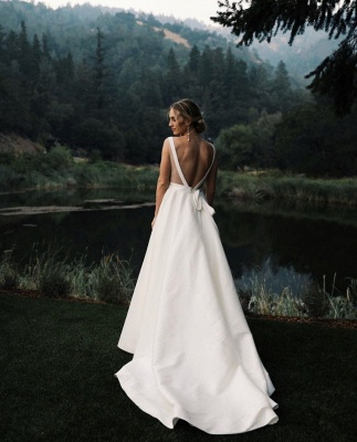 Sexy Straps Plunging V Neck A Line Wedding Dresses | Sash Ruffles Bridal Gown_2