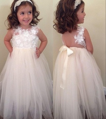 Cute A-line Bowknot Floral-Appliques Floor-Length Flower Girl Dresses