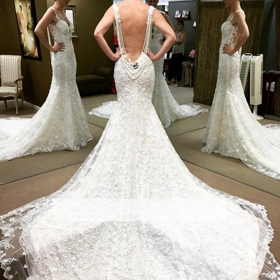 Spaghetti Straps Lace Glamorous Beaded Backless Mermaid Wedding Dresses_1