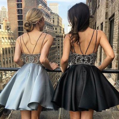 Sexy Spaghetti Straps A-Line Homecoming Dresses | Deep V-Neck Open Back Mini Cocktail Dresses_4