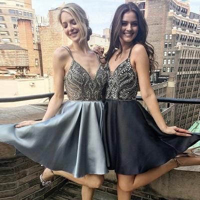 Sexy Spaghetti Straps A-Line Homecoming Dresses | Deep V-Neck Open Back Mini Cocktail Dresses_3