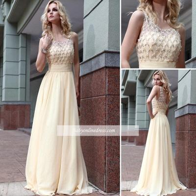 Jewel Zipper A-line Sleeveless Chiffon Prom Dress with Beadings_3