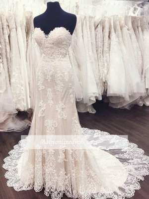 White Sweetheart Gorgeous Lace A-Line Weeding Dresses_1
