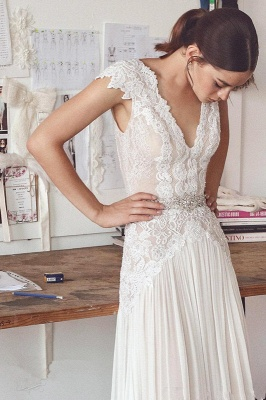 Straps Lace V Neck Sheath wedding dress | Backless Floor Length Wedding Gown