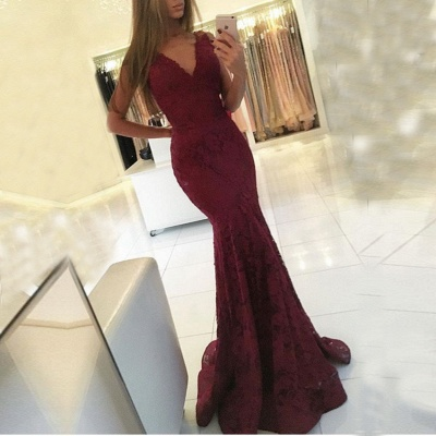 V-neck Sweep-Train Lace Mermaid Sleeveless Newest Prom Dress_3