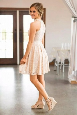 Nude Lace Short Bridesmaid Dresses | Pearls Halter Neck Maid of the Honor Dress_5