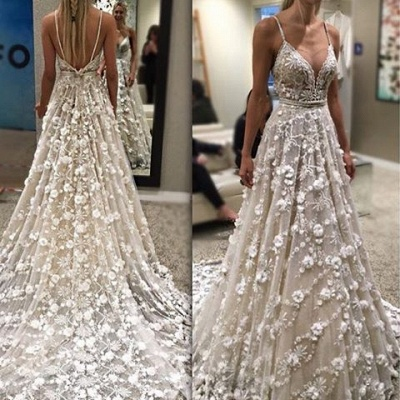 Gorgeous Sexy Spaghetti-Straps Bridal Gowns Flowers Backless Wedding Dresses_3