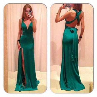 Green Backless Prom Dresses Deep V Neck Crisscross Back Side Slit Sexy Simple Evening Gowns_2