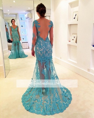 2018 Delicate Lace Sweep Strap Long-Sleeve Mermaid V-neck Prom Dress_1