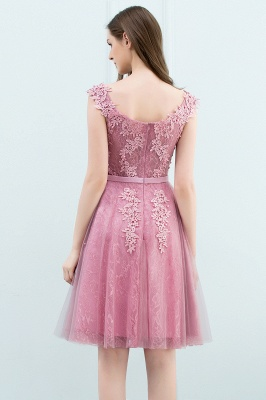 Pink A-Line Homecoming Dresses | Lace Tulle Mini Prom Dresses_11