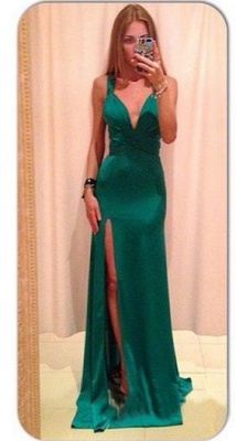 Green Backless Prom Dresses Deep V Neck Crisscross Back Side Slit Sexy Simple Evening Gowns_1