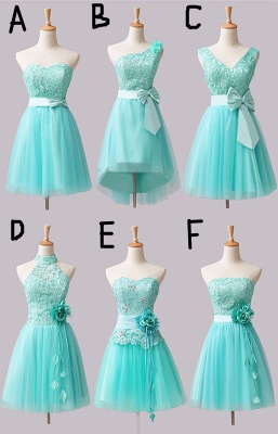 Mini Lace Tulle Short Bridesmaid Dresses with Bowknot Flower_1